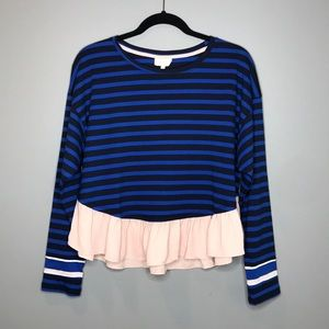 Anthopologie Deletta Striped peplum top size S